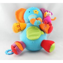 Doudou plat éléphant jaune bleu étoiles BAWI