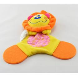 Doudou plat dentition Simon lion jaune orange rose DUPUIS