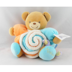 Doudou ours patapouf orange jaune anniversaire confettis Kaloo