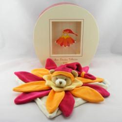Doudou et compagnie collector ours plat fleur rouge orange NEUF