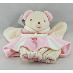 Doudou plat marionnette souris robe rose NOUNOURS