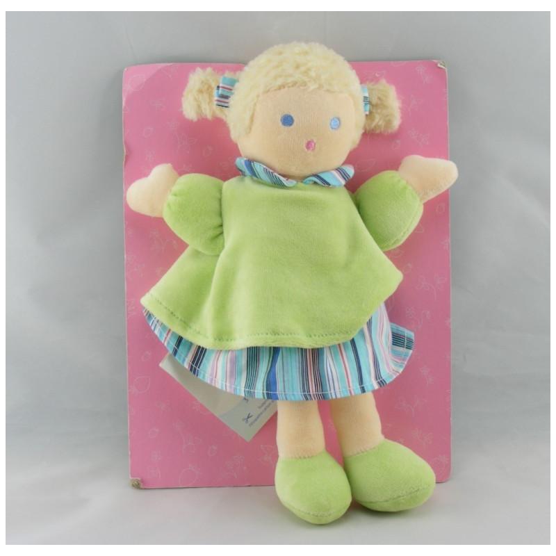 Doudou poupée fille robe rose nattes NOUNOURS NEUF