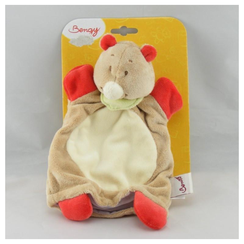 Doudou plat rhinocéros beige foulard vert Jungle BENGY NEUF