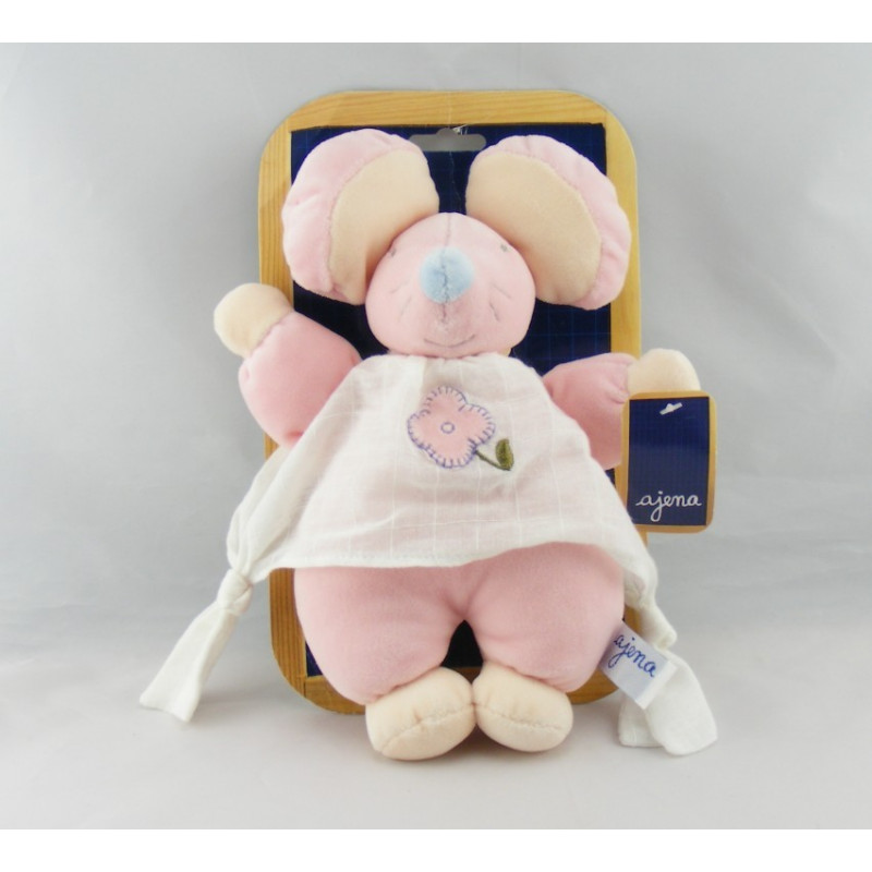 Doudou souris rose robe blanche fleur AJENA
