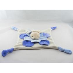 Doudou plat lapin fleur bleu pétale ALOHA