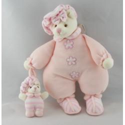 Doudou ours boule beige blanc rose col pétale BUKOWSKI