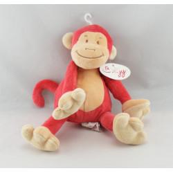 Doudou singe rouge BENGY 20 cm