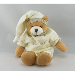 Doudou ours brun marron pyjama blanc BABY NAT