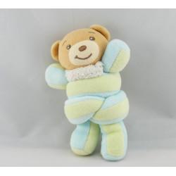 Mini Doudou ours bleu jaune hochet Candies KALOO