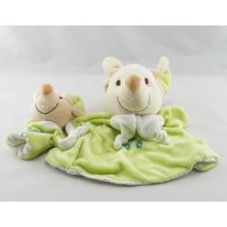 Doudou marionnette souris verte avec bébé PLAYKIDS