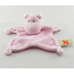 Doudou plat hippopotame rose NICOTOY
