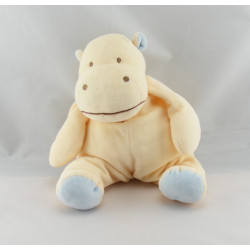 Doudou hippopotame beige écharpe bleu BENGY
