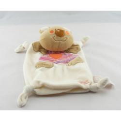 Doudou plat ours beige blanc salopette rose rayé TIAMO COLLECTION