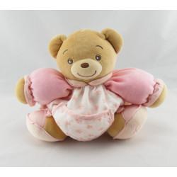 Doudou ours patapouf rose fleurs Lilirose Kaloo 25 cm