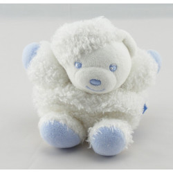 Doudou plat ours blanc bleu bouclettes KALOO