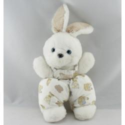 Doudou lapin beige blanc imprimé cheval TARTINE ET CHOCOLAT