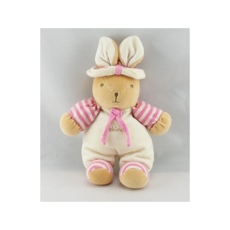 Doudou Lapin Takinou rayé rose avec chapeau