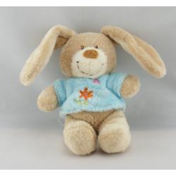 Doudou plat carré lapin bleu fleur papillon TEX