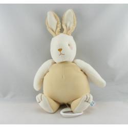 Doudou lapin beige blanc couché SUCRE D'ORGE