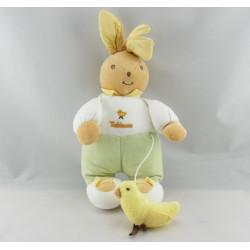 Doudou lapin blanc vert oiseau brodé TAKINOU