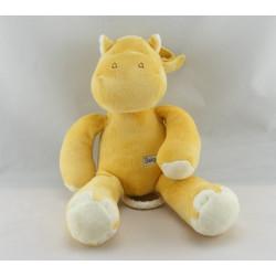 Doudou plat ane cheval jaune fleur rose BABYSUN