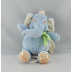 Doudou musical éléphant bleu foulard vert CHARLY ET CIE