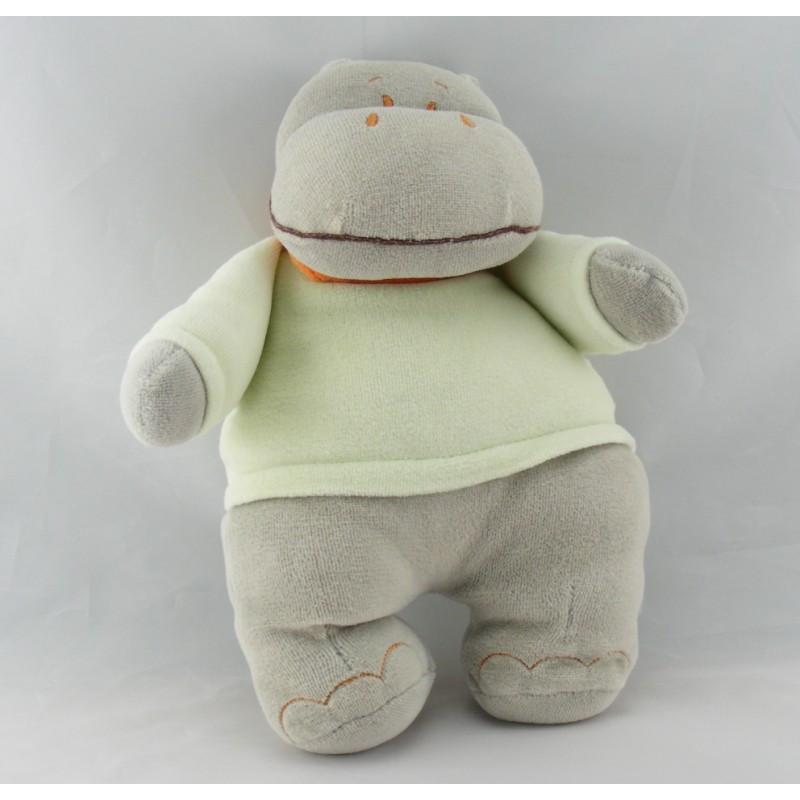 Doudou Hippopotame Gris vert écharpe orange Influx