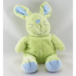 Doudou lapin vert bleu pull jaune ours roi brodé
