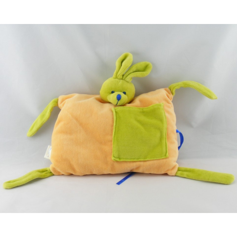 Doudou semi plat coussin lapin orange vert AIR FRANCE