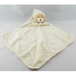 Doudou plat ours blanc écru vichy beige BABY NAT