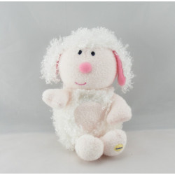 Mini Doudou plat agneau mouton blanc rose LUMINOU NEUF