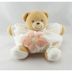Doudou ours boule patapouf blanc fleur orange KALOO
