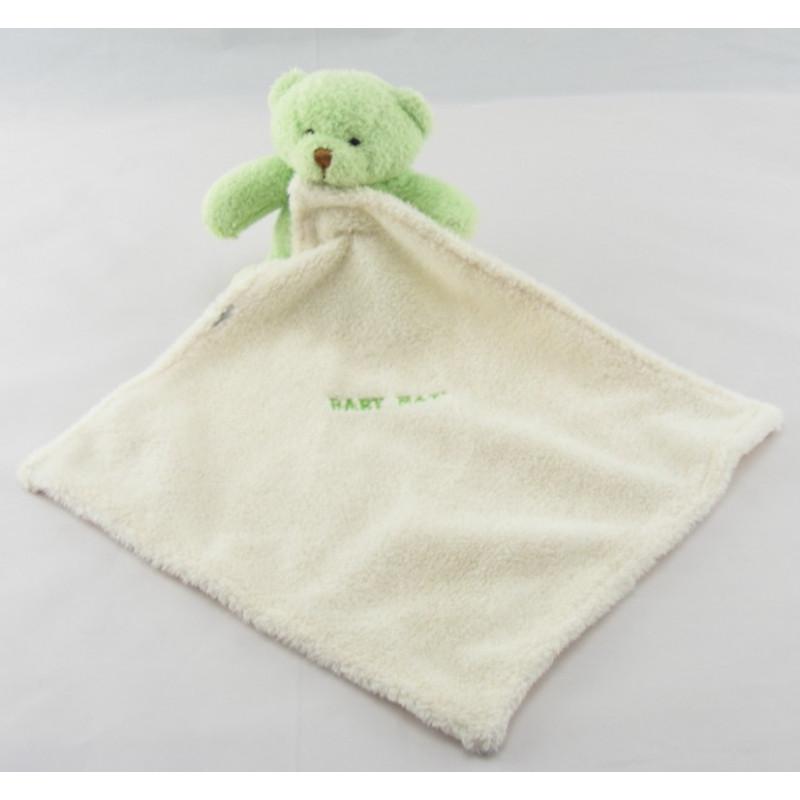 Doudou Ours vert avec mouchoir Baby nat'