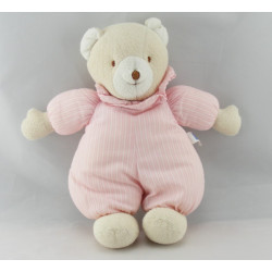 Doudou plat carré souris ours beige blanc TROUSSELIER