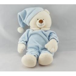Doudou ours blanc pyjama bonnet bleu CDG