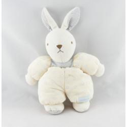 Doudou lapin beige écru robe fleur vichy bleu NOUNOURS