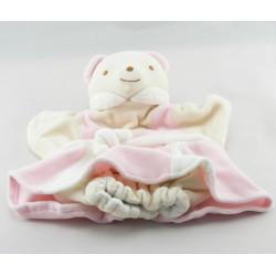 Doudou plat marionnette ours robe rose blanc NOUNOURS NEUF