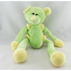 Doudou ours vert jaune bras jambes coulissant CMP