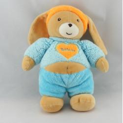 Doudou lapin bleu bandeau orange TAKINOU