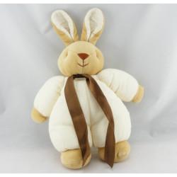 Doudou lapin beige pull vert NOUKIE'S