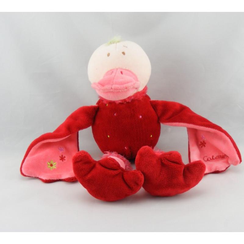 Doudou plat canard fleur rouge CATIMINI