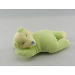 Doudou ours vert jaune couché SUCRE D'ORGE
