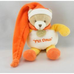 Doudou et compagnie ours ptit doux orange avec mouchoir