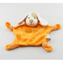 Doudou semi plat carré chien orange mouchoir BABY NAT