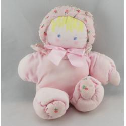 Doudou poupée bébé tendre rose fleurs rouge COROLLE 1993