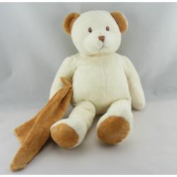 Doudou ours marron beige avec mouchoir ANNA CLUB PLUSH