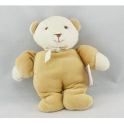 Doudou ours beige foulard blanc NOUKIE'S