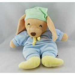 Doudou plat lapin chien Loulou bleu vert jaune ANNA CLUB PLUSH