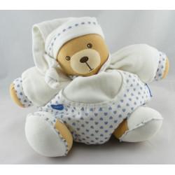 Doudou ours boule blanc coeur bleu KALOO
