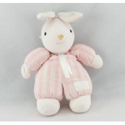Doudou lapin blanc rayé rose TARTINE ET CHOCOLAT